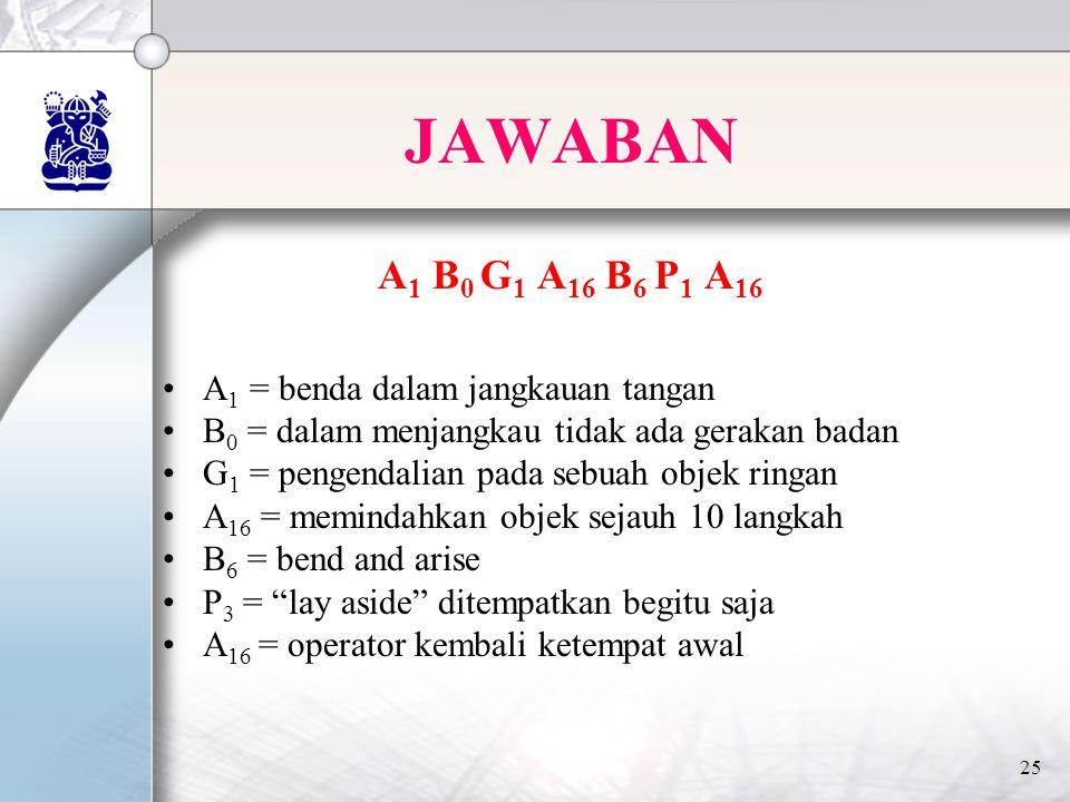 25 JAWABAN A 1 B 0 G 1 A 16 B 6 P 1 A 16 •A 1 = benda dalam jangkauan tangan •B 0 = dalam menjangkau tidak ada gerakan badan •G 1 = pengendalian pada sebuah objek ringan •A 16 = memindahkan objek sejauh 10 langkah •B 6 = bend and arise •P 3 = lay aside ditempatkan begitu saja •A 16 = operator kembali ketempat awal