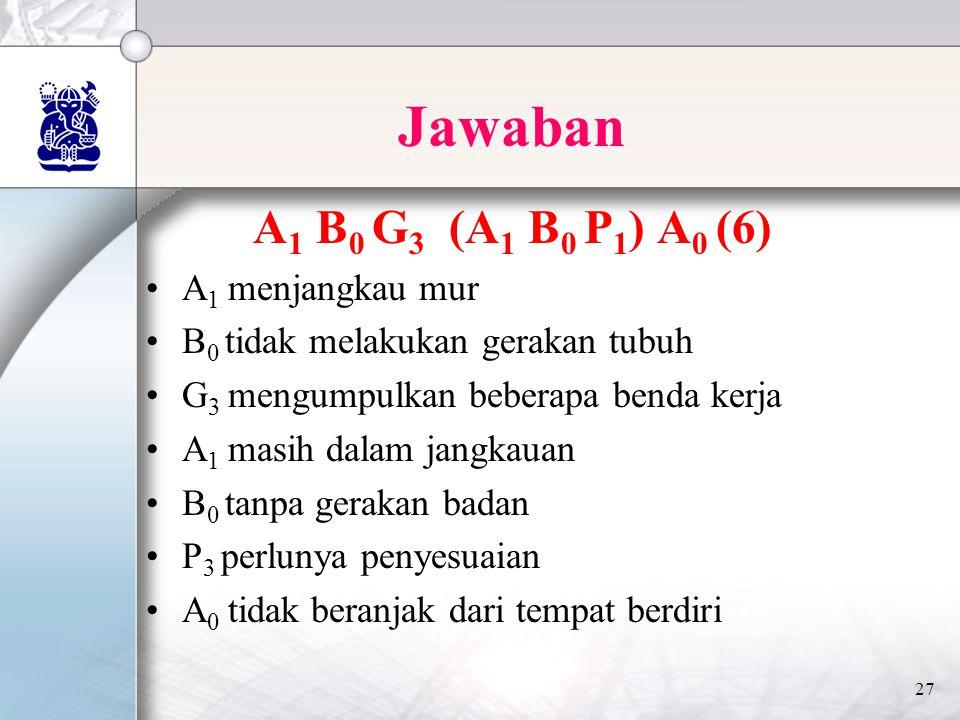 27 Jawaban A 1 B 0 G 3 (A 1 B 0 P 1 ) A 0 (6) •A 1 menjangkau mur •B 0 tidak melakukan gerakan tubuh •G 3 mengumpulkan beberapa benda kerja •A 1 masih dalam jangkauan •B 0 tanpa gerakan badan •P 3 perlunya penyesuaian •A 0 tidak beranjak dari tempat berdiri