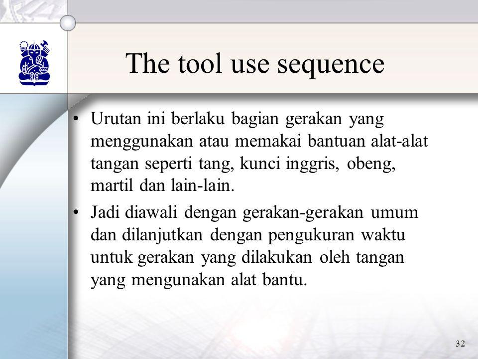 32 The tool use sequence •Urutan ini berlaku bagian gerakan yang menggunakan atau memakai bantuan alat-alat tangan seperti tang, kunci inggris, obeng, martil dan lain-lain.