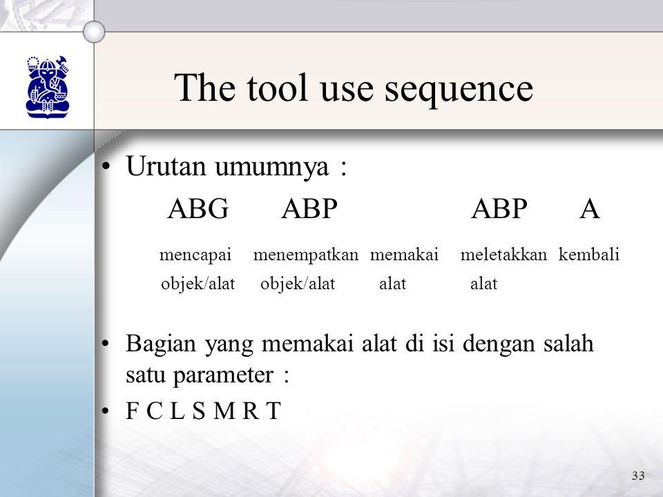 33 The tool use sequence •Urutan umumnya : ABG ABP ABP A mencapai menempatkan memakai meletakkan kembali objek/alat objek/alat alat alat •Bagian yang memakai alat di isi dengan salah satu parameter : •F C L S M R T