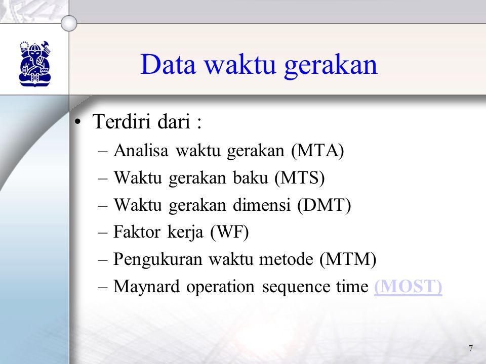 7 Data waktu gerakan •Terdiri dari : –Analisa waktu gerakan (MTA) –Waktu gerakan baku (MTS) –Waktu gerakan dimensi (DMT) –Faktor kerja (WF) –Pengukuran waktu metode (MTM) –Maynard operation sequence time (MOST)(MOST)