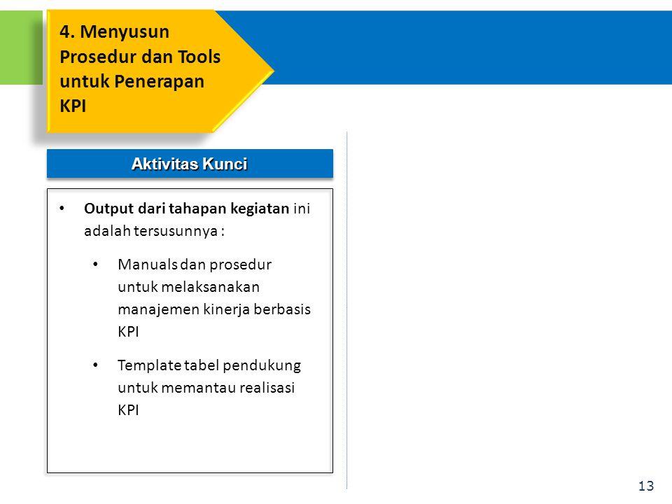 13 Aktivitas Kunci • Output dari tahapan kegiatan ini adalah tersusunnya : • Manuals dan prosedur untuk melaksanakan manajemen kinerja berbasis KPI • Template tabel pendukung untuk memantau realisasi KPI 4.