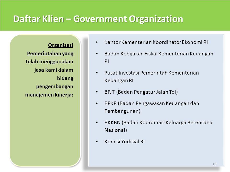 Daftar Klien – Government Organization 18 • Kantor Kementerian Koordinator Ekonomi RI • Badan Kebijakan Fiskal Kementerian Keuangan RI • Pusat Investa