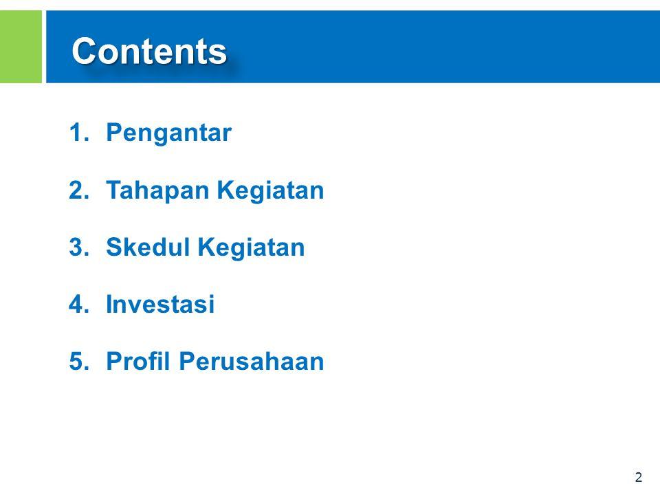 2 ContentsContents 1.Pengantar 2.Tahapan Kegiatan 3.Skedul Kegiatan 4.Investasi 5.Profil Perusahaan