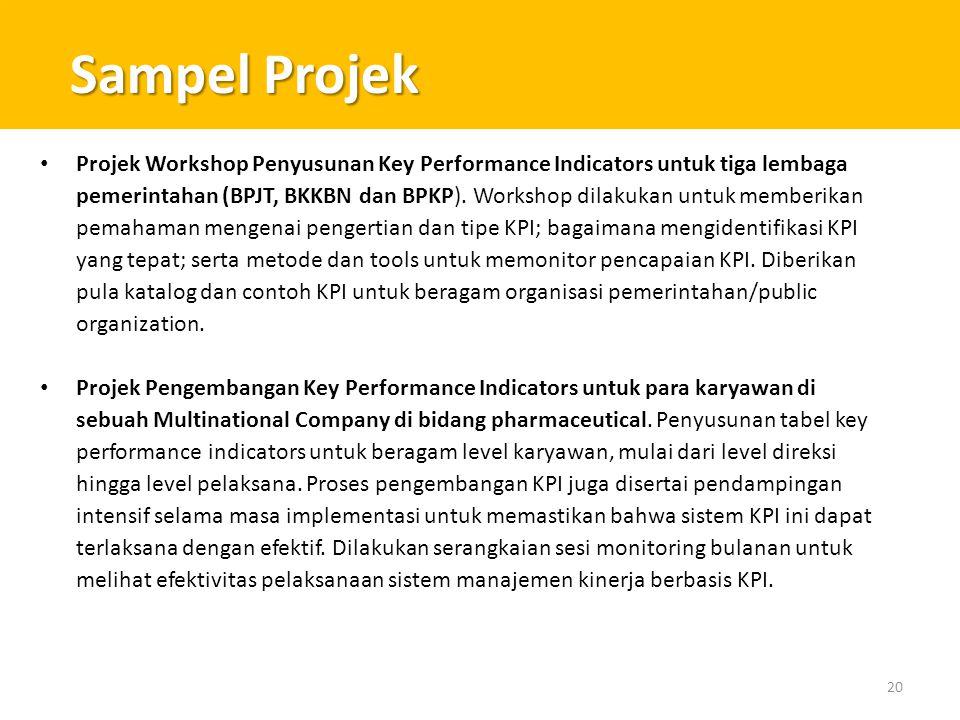 Sampel Projek 20 • Projek Workshop Penyusunan Key Performance Indicators untuk tiga lembaga pemerintahan (BPJT, BKKBN dan BPKP). Workshop dilakukan un