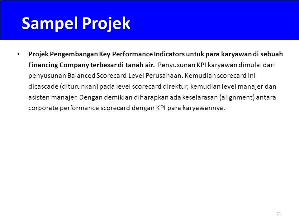 Sampel Projek 21 • Projek Pengembangan Key Performance Indicators untuk para karyawan di sebuah Financing Company terbesar di tanah air. Penyusunan KP