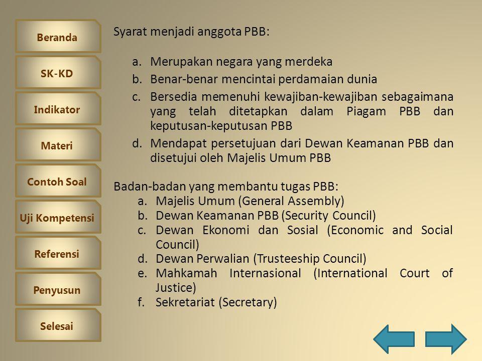 Beranda SK-KD Indikator Materi Contoh Soal Uji Kompetensi Referensi Penyusun Selesai Perserikatan Bangsa-Bangsa (United Nation Organization) Berdiri p