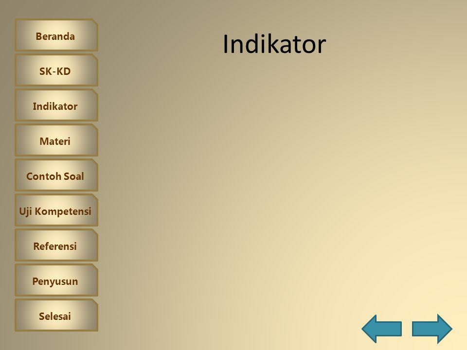 Beranda SK-KD Indikator Materi Contoh Soal Uji Kompetensi Referensi Penyusun Selesai Standar Kompetensi dan Kompetensi Dasar Standar Kompetensi 2.Meng