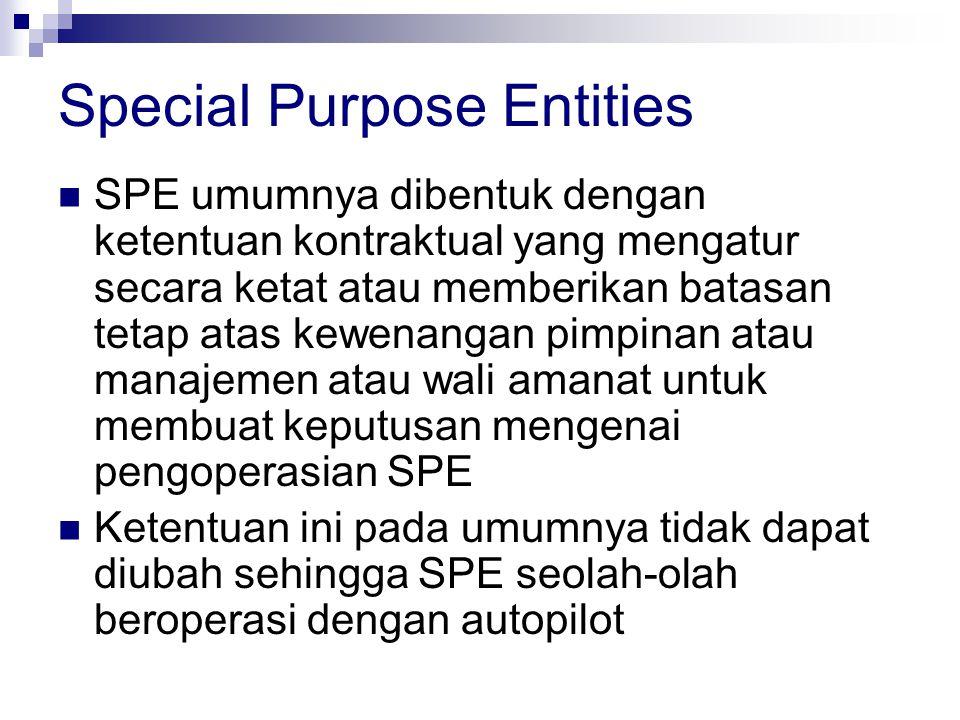 Special Purpose Entities  SPE umumnya dibentuk dengan ketentuan kontraktual yang mengatur secara ketat atau memberikan batasan tetap atas kewenangan