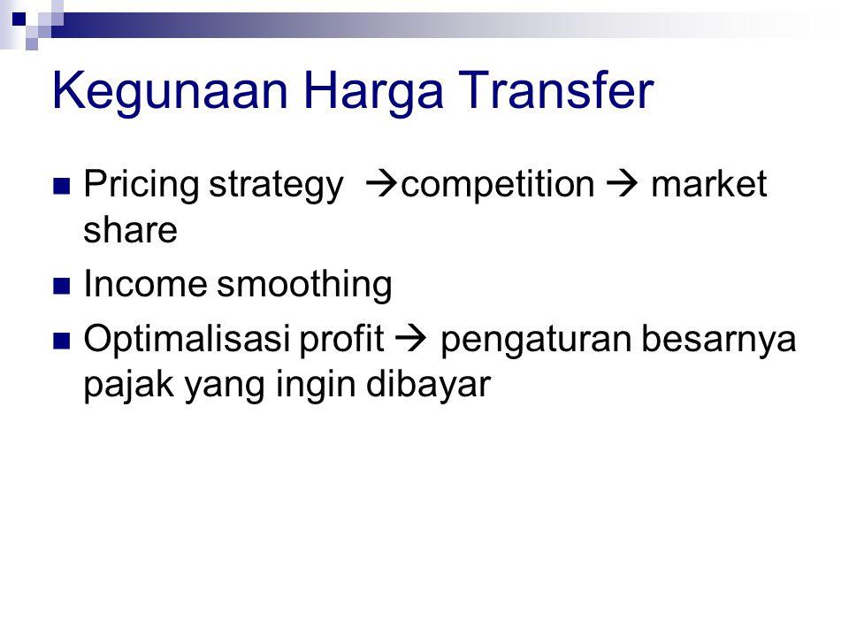 Metode harga transfer  Metode harga pasar bebas  Metode resale price  Cost-plus method