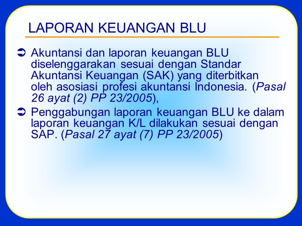 LAPORAN KEUANGAN BLU  Akuntansi dan laporan keuangan BLU diselenggarakan sesuai dengan Standar Akuntansi Keuangan (SAK) yang diterbitkan oleh asosiasi profesi akuntansi Indonesia.