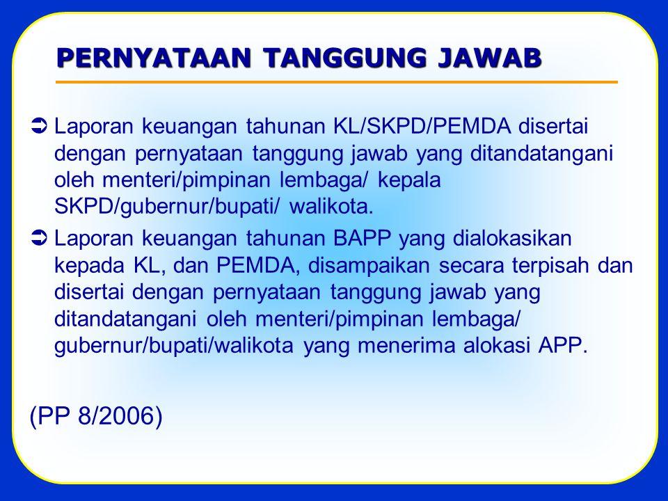 PERNYATAAN TANGGUNG JAWAB  Laporan keuangan tahunan KL/SKPD/PEMDA disertai dengan pernyataan tanggung jawab yang ditandatangani oleh menteri/pimpinan lembaga/ kepala SKPD/gubernur/bupati/ walikota.