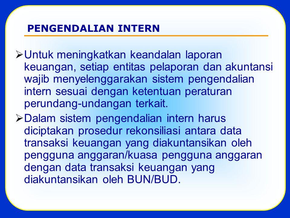 PENGENDALIAN INTERN  Untuk meningkatkan keandalan laporan keuangan, setiap entitas pelaporan dan akuntansi wajib menyelenggarakan sistem pengendalian intern sesuai dengan ketentuan peraturan perundang-undangan terkait.