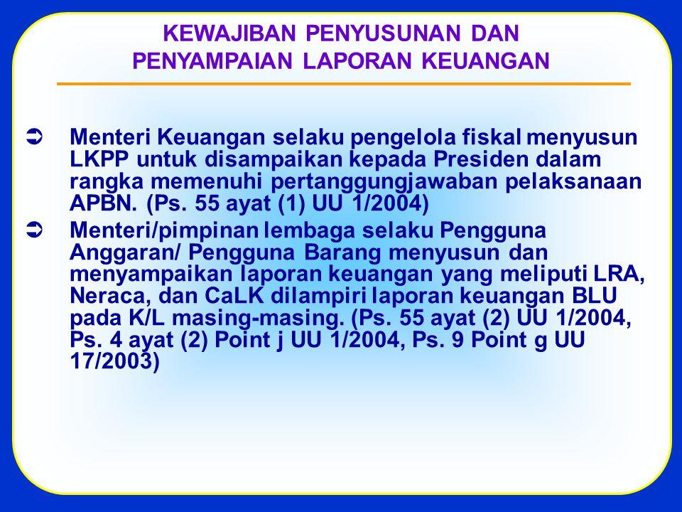  Menteri Keuangan selaku pengelola fiskal menyusun LKPP untuk disampaikan kepada Presiden dalam rangka memenuhi pertanggungjawaban pelaksanaan APBN.