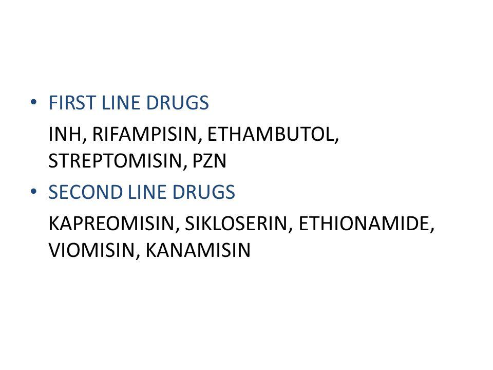 • FIRST LINE DRUGS INH, RIFAMPISIN, ETHAMBUTOL, STREPTOMISIN, PZN • SECOND LINE DRUGS KAPREOMISIN, SIKLOSERIN, ETHIONAMIDE, VIOMISIN, KANAMISIN