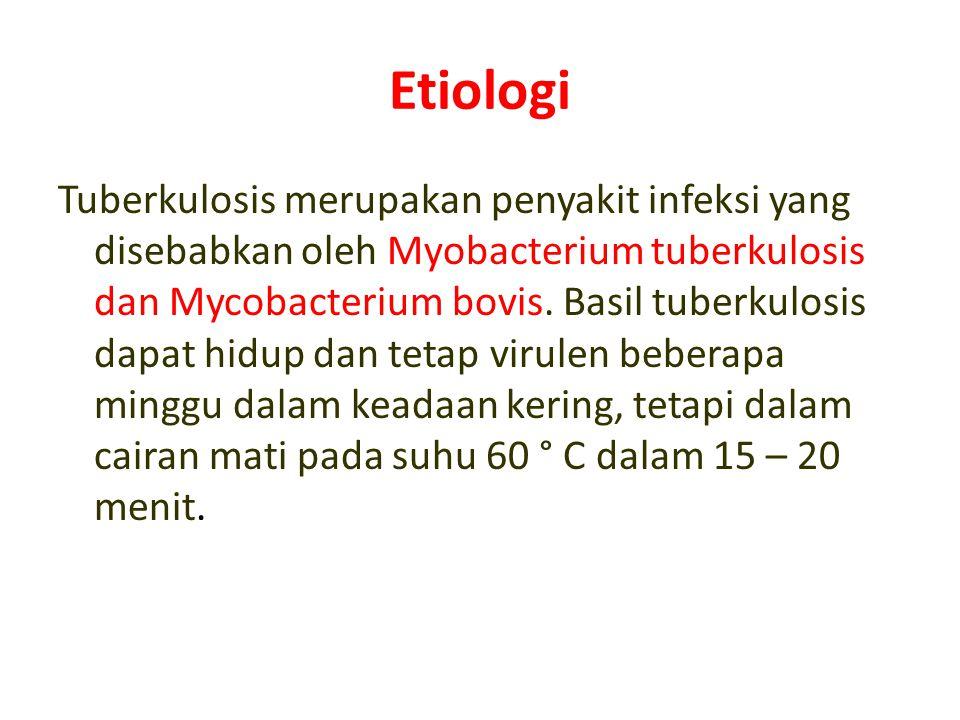 Etiologi Tuberkulosis merupakan penyakit infeksi yang disebabkan oleh Myobacterium tuberkulosis dan Mycobacterium bovis. Basil tuberkulosis dapat hidu