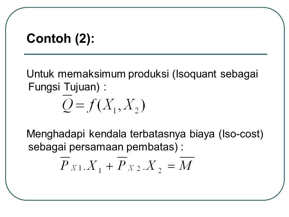 Contoh (2): Untuk memaksimum produksi (Isoquant sebagai Fungsi Tujuan) : Menghadapi kendala terbatasnya biaya (Iso-cost) sebagai persamaan pembatas) :
