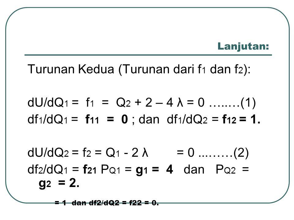 Lanjutan: Turunan Kedua (Turunan dari f 1 dan f 2 ): dU/dQ 1 = f 1 = Q 2 + 2 – 4 λ = 0 …..…(1) df 1 /dQ 1 = f 11 = 0 ; dan df 1 /dQ 2 = f 12 = 1. dU/d