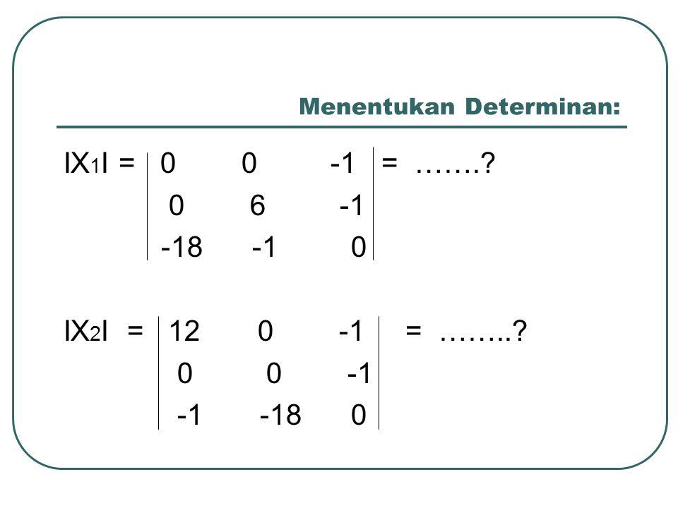 Menentukan Determinan: IX 1 I = 0 0 -1 = …….? 0 6 -1 -18 -1 0 IX 2 I = 12 0 -1 = ……..? 0 0 -1 -1 -18 0