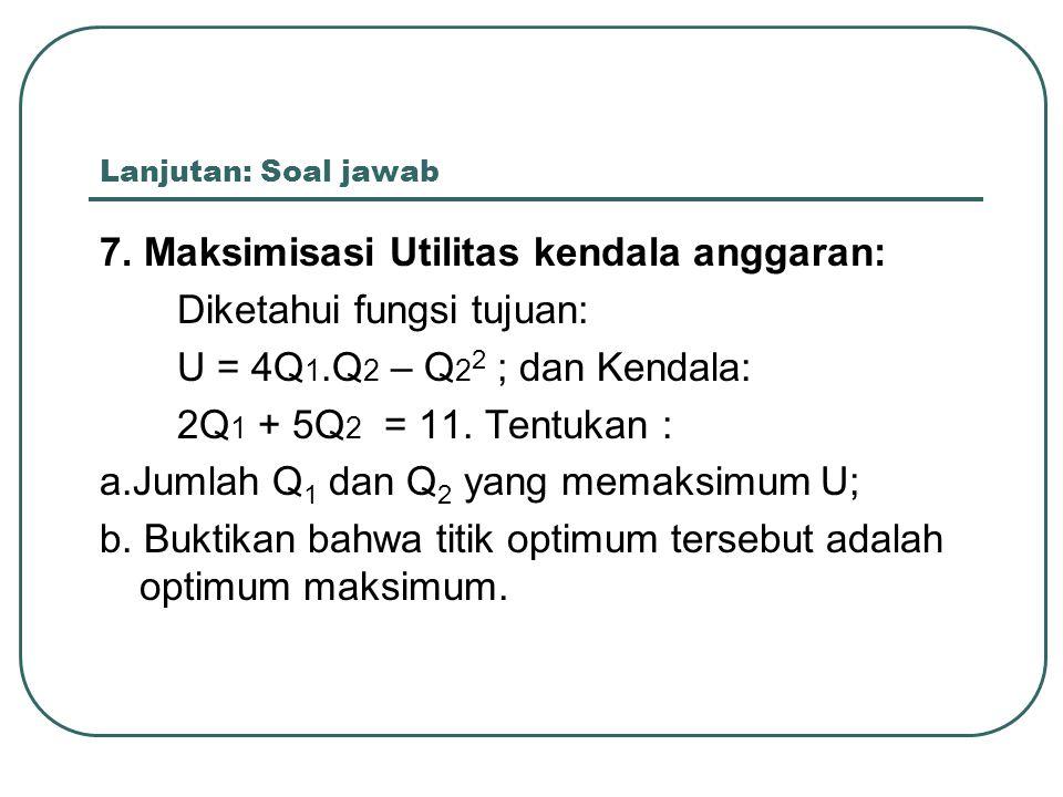 Lanjutan: Soal jawab 7. Maksimisasi Utilitas kendala anggaran: Diketahui fungsi tujuan: U = 4Q 1.Q 2 – Q 2 2 ; dan Kendala: 2Q 1 + 5Q 2 = 11. Tentukan