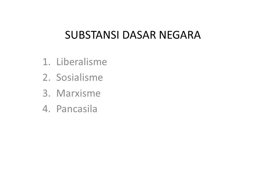 SUBSTANSI DASAR NEGARA 1.Liberalisme 2.Sosialisme 3.Marxisme 4.Pancasila