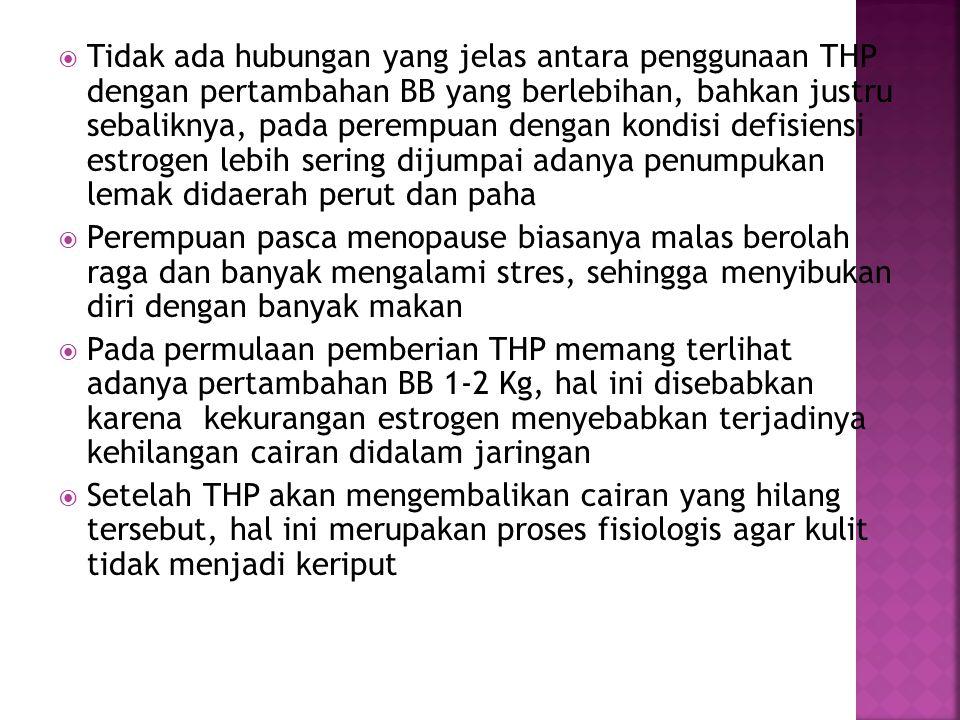  Tidak ada hubungan yang jelas antara penggunaan THP dengan pertambahan BB yang berlebihan, bahkan justru sebaliknya, pada perempuan dengan kondisi d