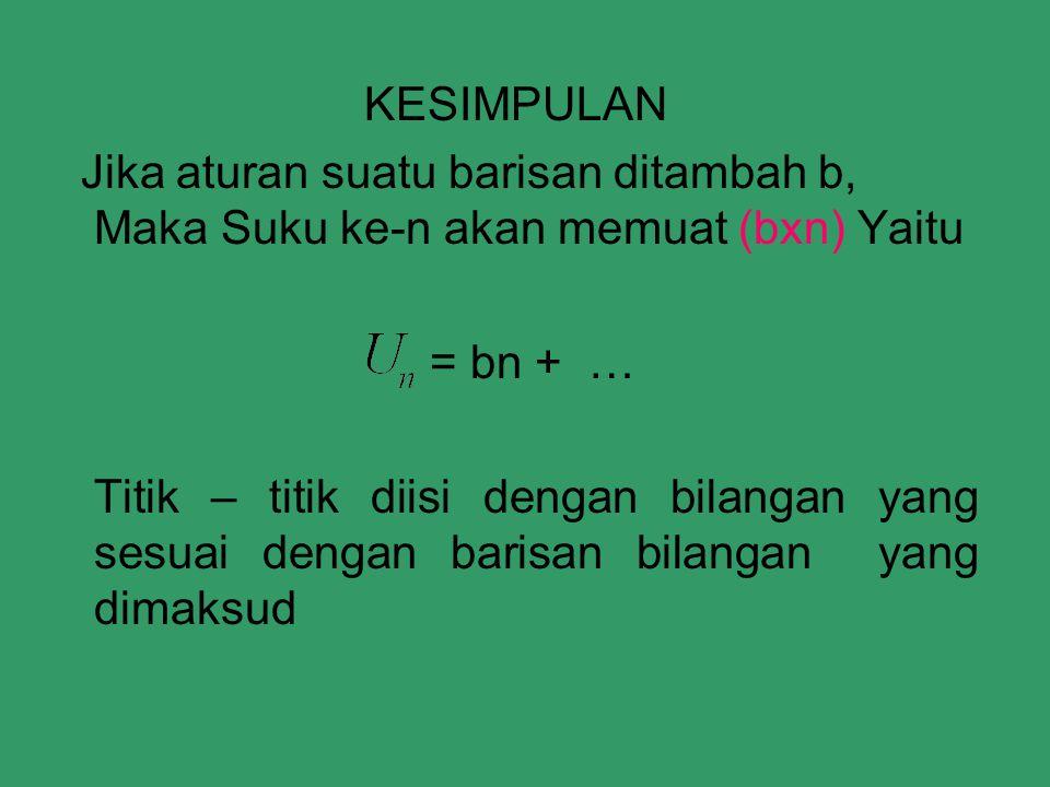 KESIMPULAN Jika aturan suatu barisan ditambah b, Maka Suku ke-n akan memuat (bxn) Yaitu = bn + … Titik – titik diisi dengan bilangan yang sesuai dengan barisan bilangan yang dimaksud