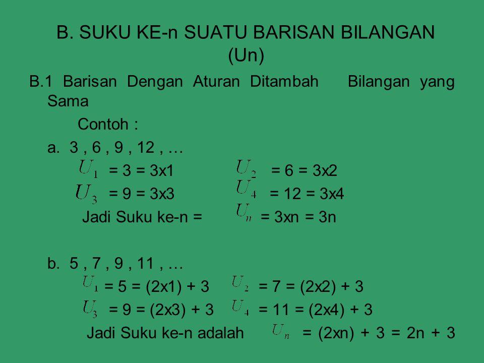 B. SUKU KE-n SUATU BARISAN BILANGAN (Un) B.1 Barisan Dengan Aturan Ditambah Bilangan yang Sama Contoh : a. 3, 6, 9, 12, … = 3 = 3x1= 6 = 3x2 = 9 = 3x3