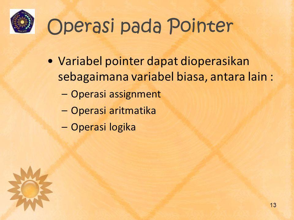 Operasi pada Pointer •Variabel pointer dapat dioperasikan sebagaimana variabel biasa, antara lain : –Operasi assignment –Operasi aritmatika –Operasi l