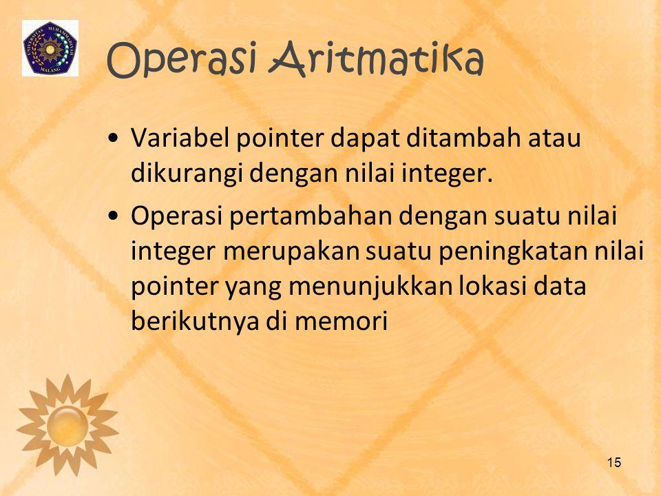 Operasi Aritmatika •Variabel pointer dapat ditambah atau dikurangi dengan nilai integer. •Operasi pertambahan dengan suatu nilai integer merupakan sua