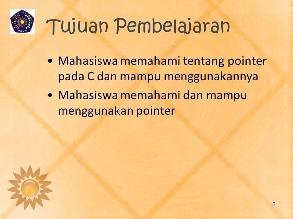 Tujuan Pembelajaran •Mahasiswa memahami tentang pointer pada C dan mampu menggunakannya •Mahasiswa memahami dan mampu menggunakan pointer 2