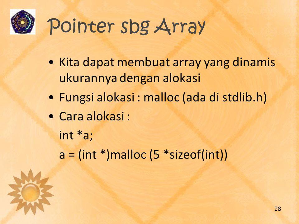 Pointer sbg Array •Kita dapat membuat array yang dinamis ukurannya dengan alokasi •Fungsi alokasi : malloc (ada di stdlib.h) •Cara alokasi : int *a; a
