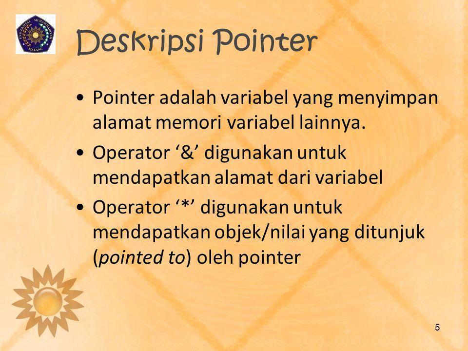 Deskripsi Pointer •Pointer adalah variabel yang menyimpan alamat memori variabel lainnya. •Operator '&' digunakan untuk mendapatkan alamat dari variab