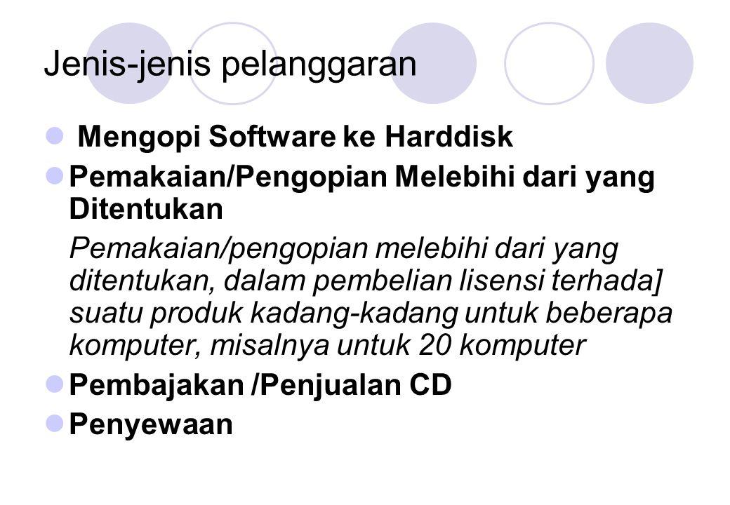 Jenis-jenis pelanggaran  Mengopi Software ke Harddisk  Pemakaian/Pengopian Melebihi dari yang Ditentukan Pemakaian/pengopian melebihi dari yang dite