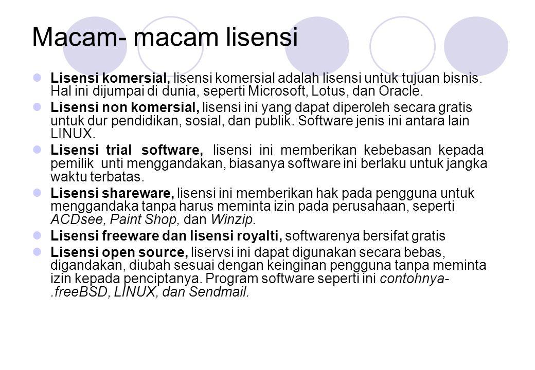Macam- macam lisensi  Lisensi komersial, lisensi komersial adalah lisensi untuk tujuan bisnis. Hal ini dijumpai di dunia, seperti Microsoft, Lotus, d