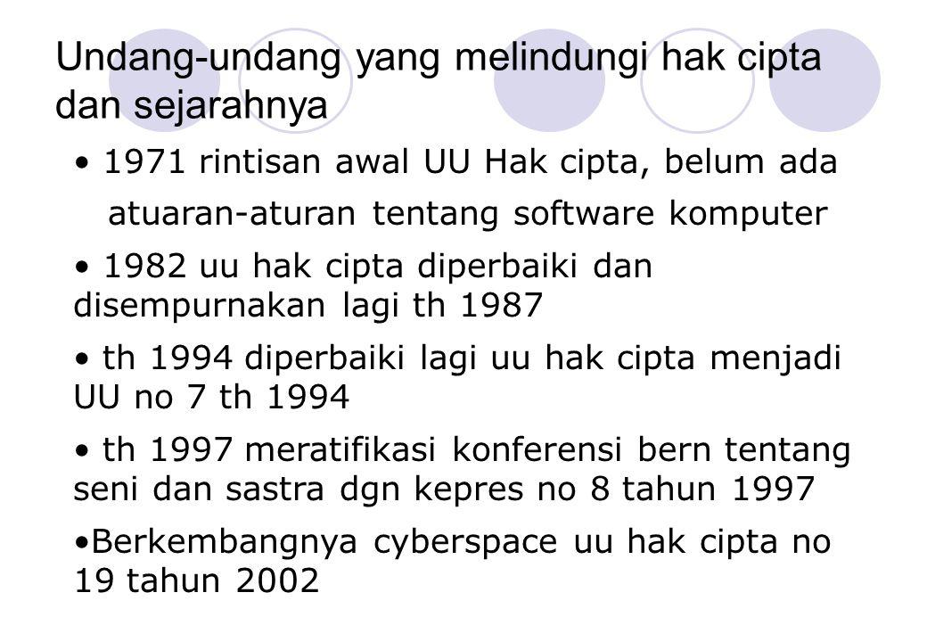 Undang-undang yang melindungi hak cipta dan sejarahnya • 1971 rintisan awal UU Hak cipta, belum ada atuaran-aturan tentang software komputer • 1982 uu