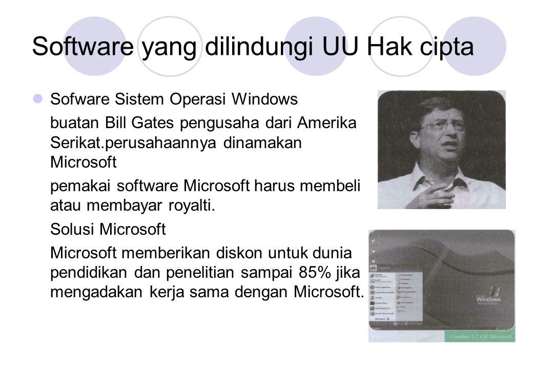 Software yang dilindungi UU Hak cipta  Sofware Sistem Operasi Windows buatan Bill Gates pengusaha dari Amerika Serikat.perusahaannya dinamakan Micros