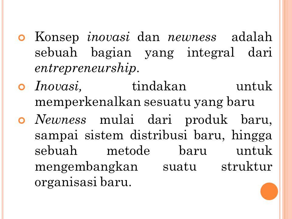 Konsep inovasi dan newness adalah sebuah bagian yang integral dari entrepreneurship. Inovasi, tindakan untuk memperkenalkan sesuatu yang baru Newness