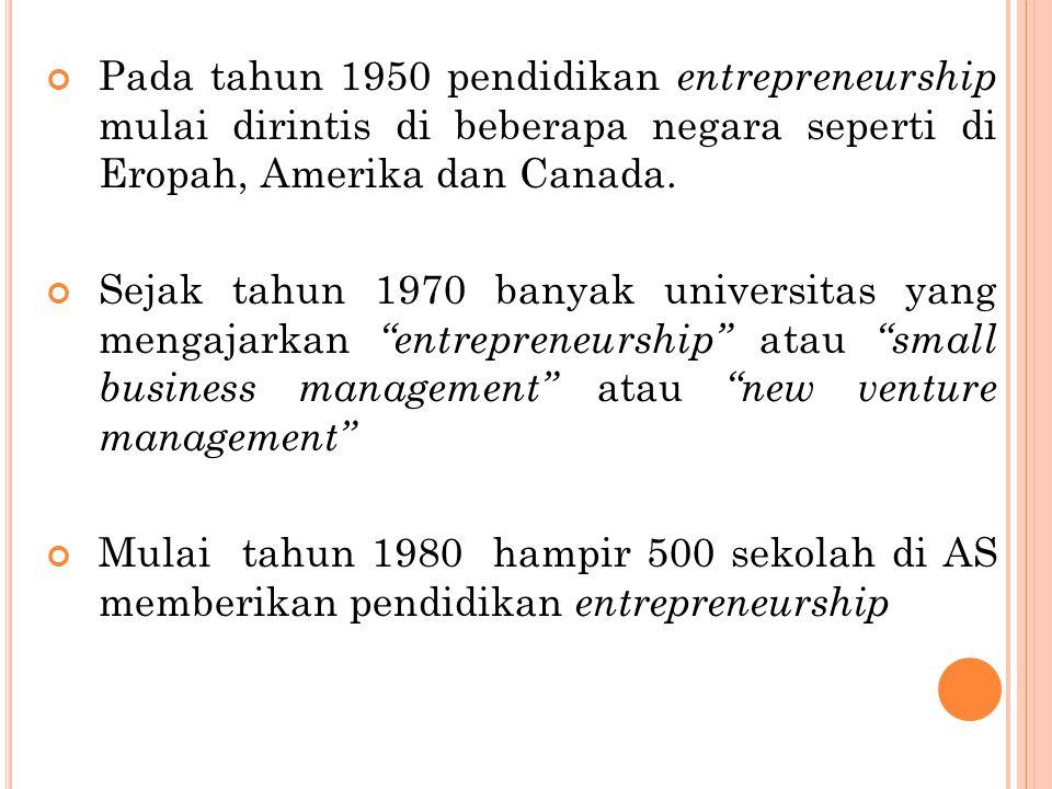 Pada tahun 1950 pendidikan entrepreneurship mulai dirintis di beberapa negara seperti di Eropah, Amerika dan Canada. Sejak tahun 1970 banyak universit