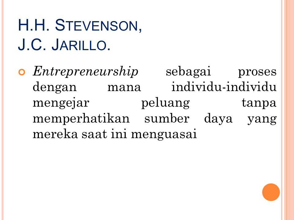 H.H. S TEVENSON, J.C. J ARILLO. Entrepreneurship sebagai proses dengan mana individu-individu mengejar peluang tanpa memperhatikan sumber daya yang me