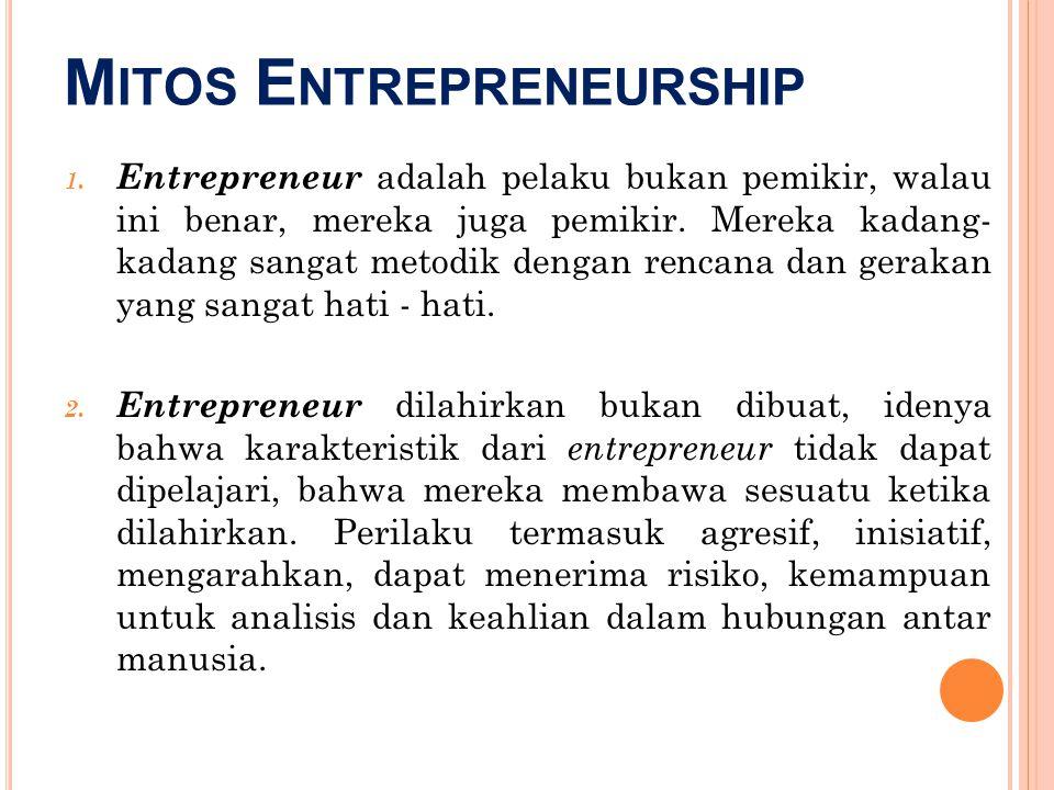 M ITOS E NTREPRENEURSHIP 1. Entrepreneur adalah pelaku bukan pemikir, walau ini benar, mereka juga pemikir. Mereka kadang- kadang sangat metodik denga