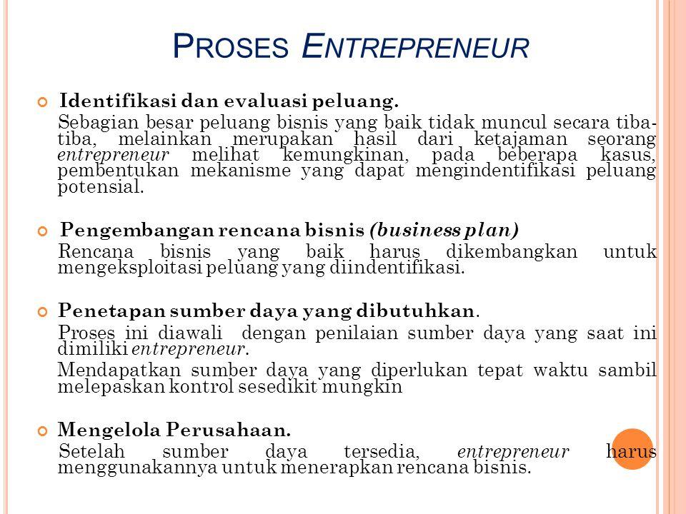 P ROSES E NTREPRENEUR Identifikasi dan evaluasi peluang. Sebagian besar peluang bisnis yang baik tidak muncul secara tiba- tiba, melainkan merupakan h