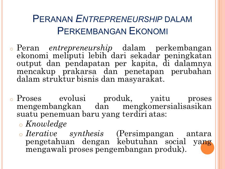 P ERANAN E NTREPRENEURSHIP DALAM P ERKEMBANGAN E KONOMI o Peran entrepreneurship dalam perkembangan ekonomi meliputi lebih dari sekadar peningkatan ou
