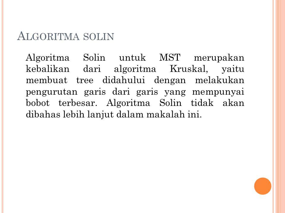 A LGORITMA SOLIN Algoritma Solin untuk MST merupakan kebalikan dari algoritma Kruskal, yaitu membuat tree didahului dengan melakukan pengurutan garis