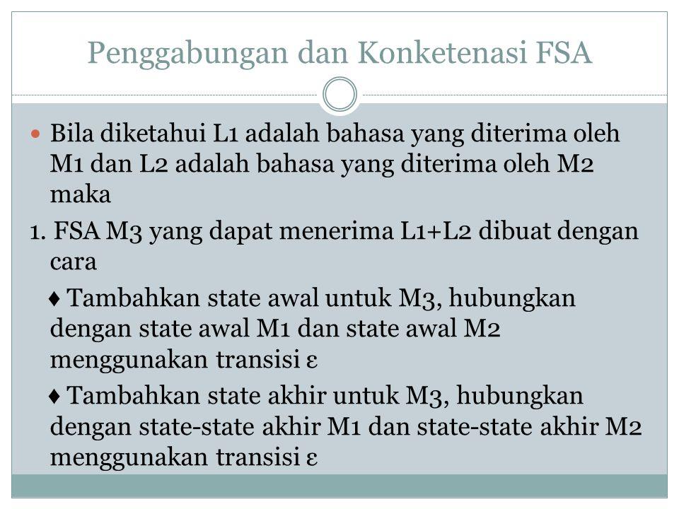 Penggabungan dan Konketenasi FSA  Bila diketahui L1 adalah bahasa yang diterima oleh M1 dan L2 adalah bahasa yang diterima oleh M2 maka 1.