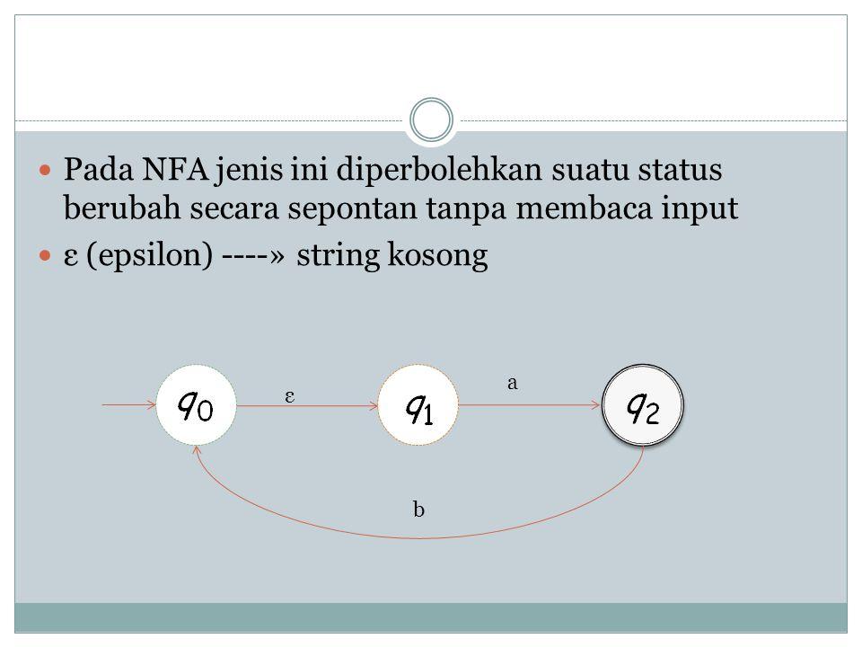  Pada NFA jenis ini diperbolehkan suatu status berubah secara sepontan tanpa membaca input  ε (epsilon) ----» string kosong ε a b