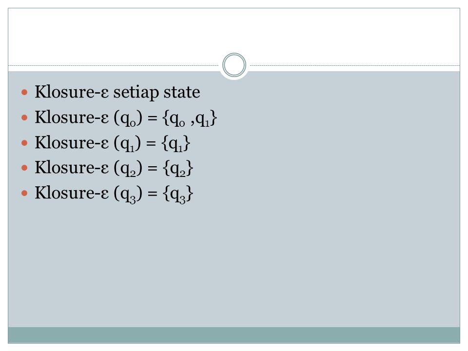  Klosure-ε setiap state  Klosure-ε (q o ) = {q o,q 1 }  Klosure-ε (q 1 ) = {q 1 }  Klosure-ε (q 2 ) = {q 2 }  Klosure-ε (q 3 ) = {q 3 }