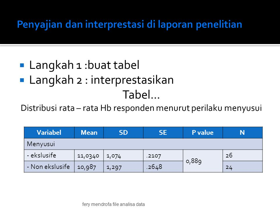  Langkah 1 :buat tabel  Langkah 2 : interprestasikan Tabel...