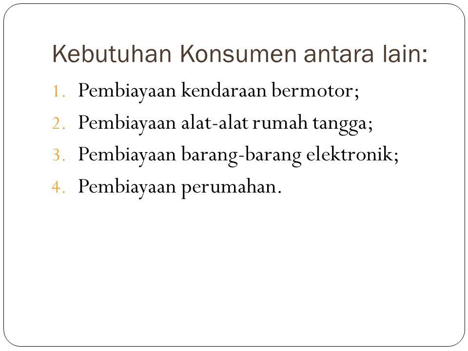 Kebutuhan Konsumen antara lain: 1. Pembiayaan kendaraan bermotor; 2. Pembiayaan alat-alat rumah tangga; 3. Pembiayaan barang-barang elektronik; 4. Pem