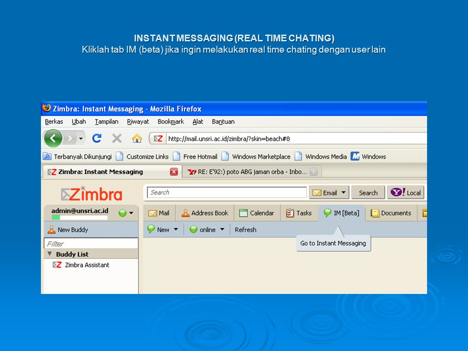 INSTANT MESSAGING (REAL TIME CHATING) Kliklah tab IM (beta) jika ingin melakukan real time chating dengan user lain